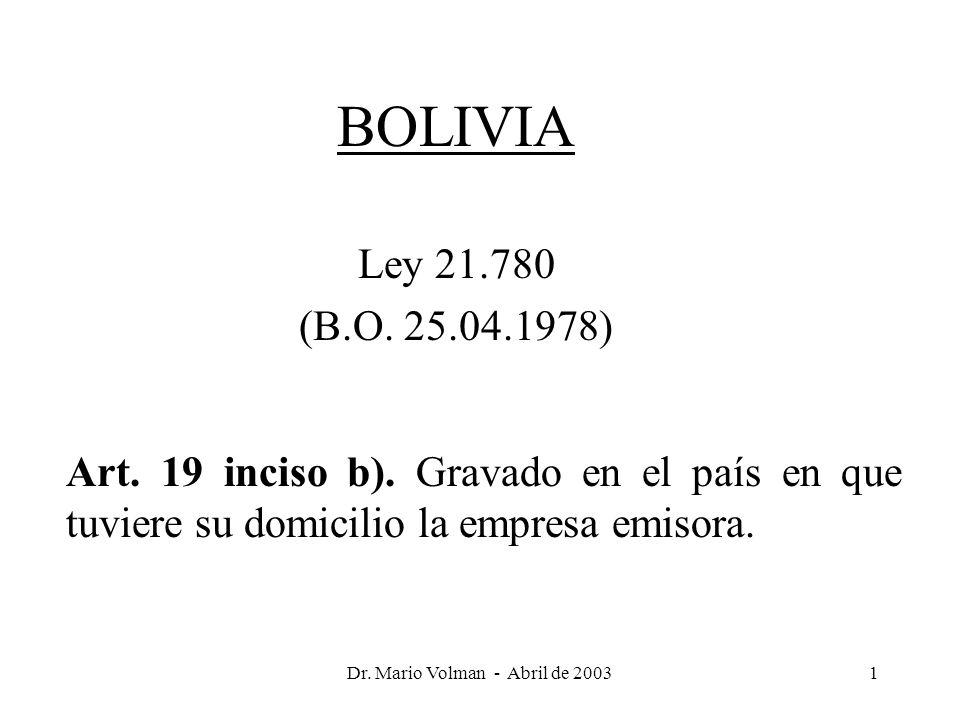 Dr. Mario Volman - Abril de 20031 BOLIVIA Ley 21.780 (B.O.