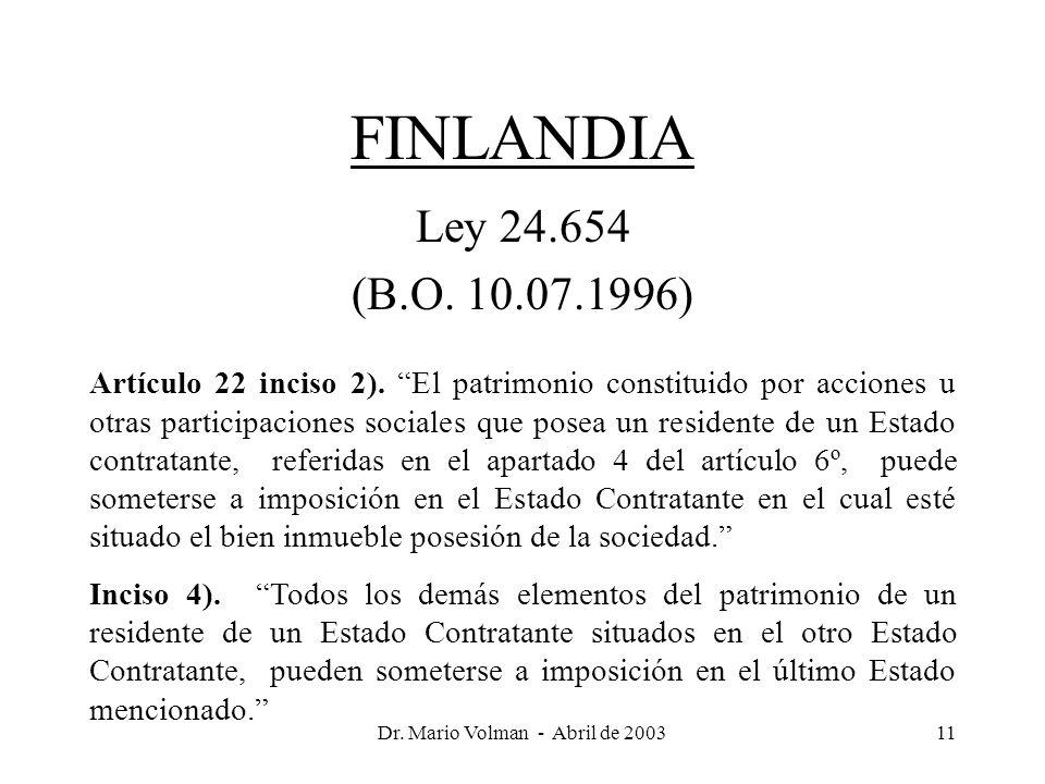 Dr. Mario Volman - Abril de 200311 FINLANDIA Ley 24.654 (B.O.