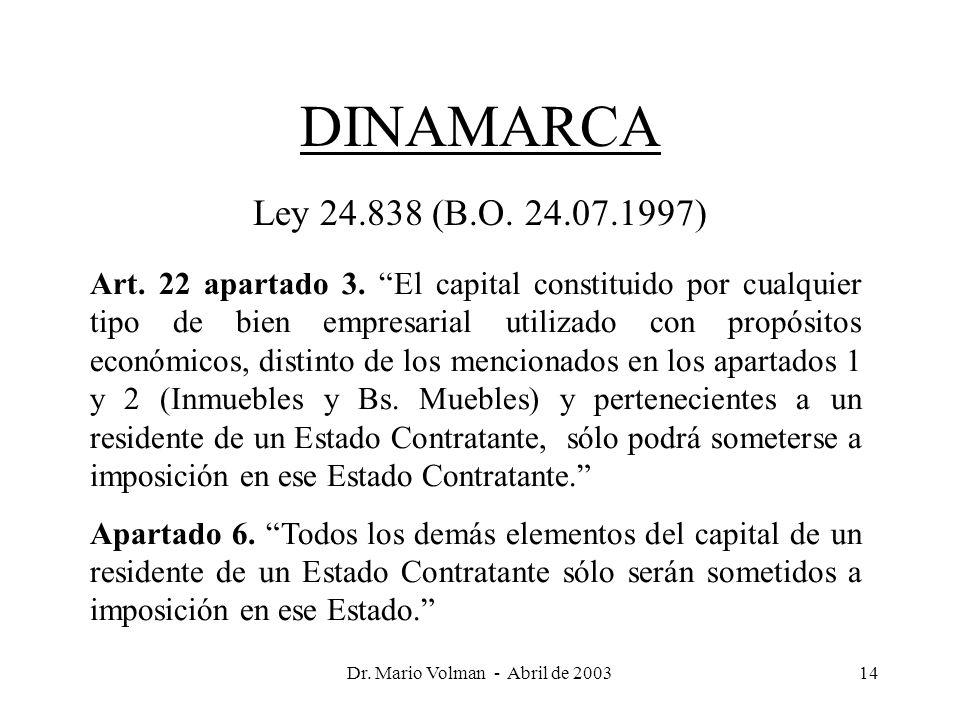 Dr. Mario Volman - Abril de 200314 DINAMARCA Ley 24.838 (B.O.