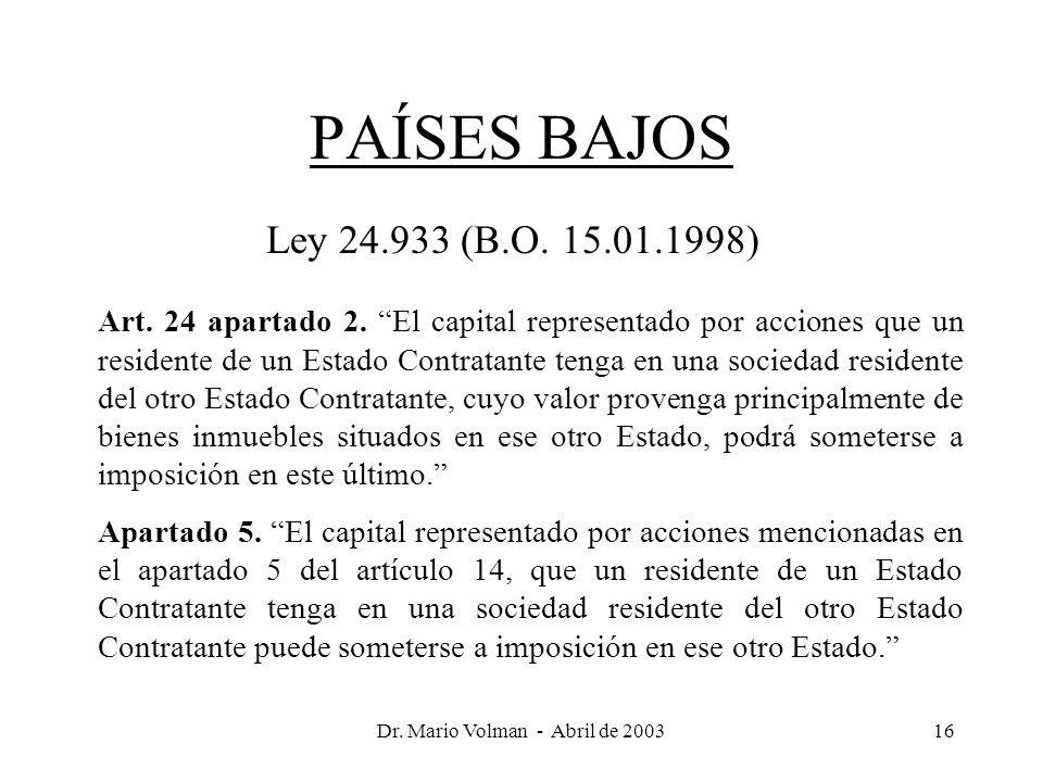 Dr. Mario Volman - Abril de 200316 PAÍSES BAJOS Ley 24.933 (B.O.