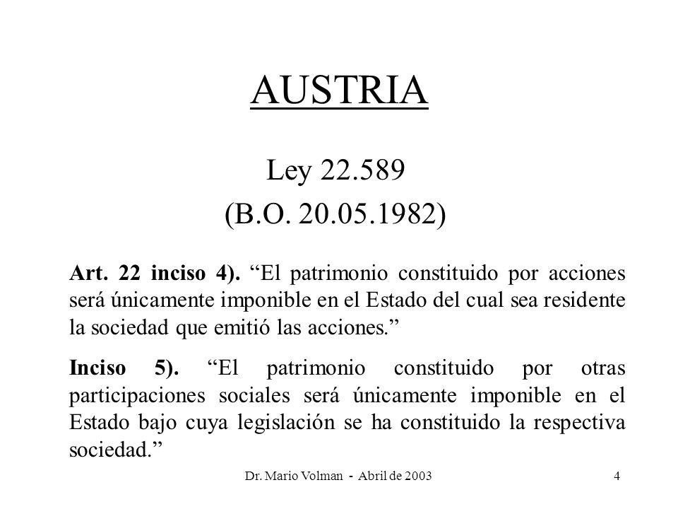 Dr. Mario Volman - Abril de 20034 AUSTRIA Ley 22.589 (B.O.