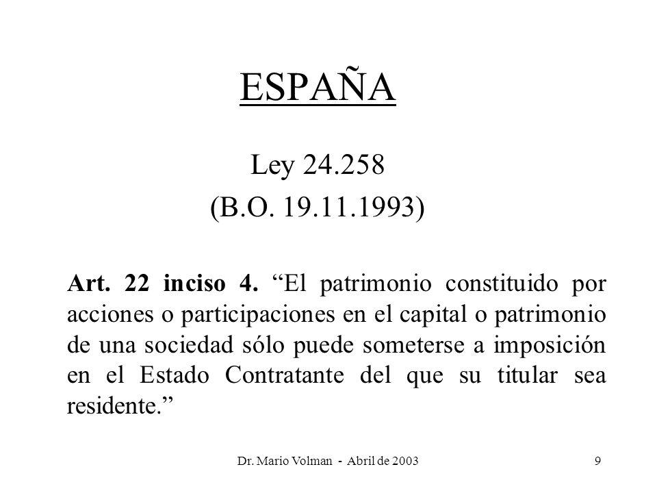Dr. Mario Volman - Abril de 20039 ESPAÑA Ley 24.258 (B.O.