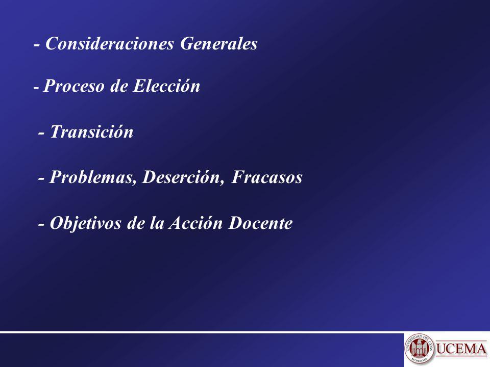 - Consideraciones Generales - Proceso de Elección - Transición - Problemas, Deserción, Fracasos - Objetivos de la Acción Docente
