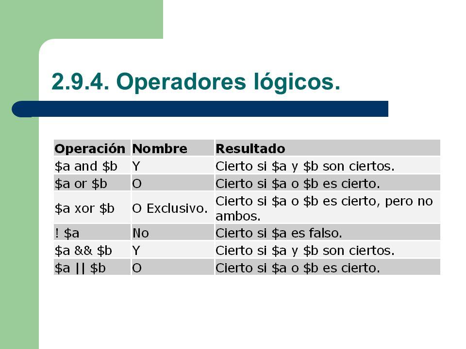 2.9.4. Operadores lógicos.