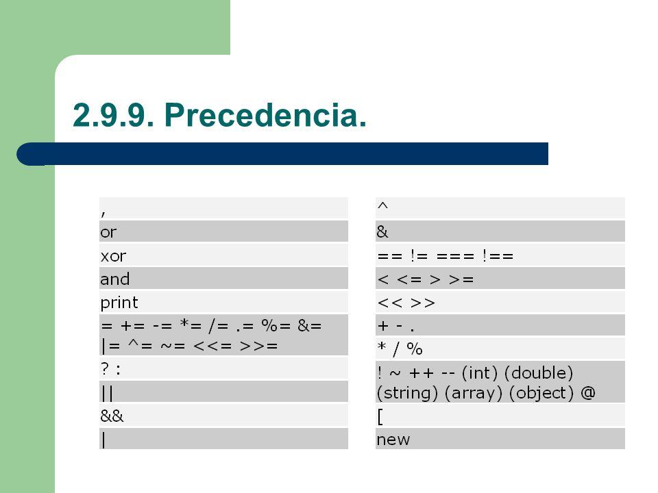 2.9.9. Precedencia.