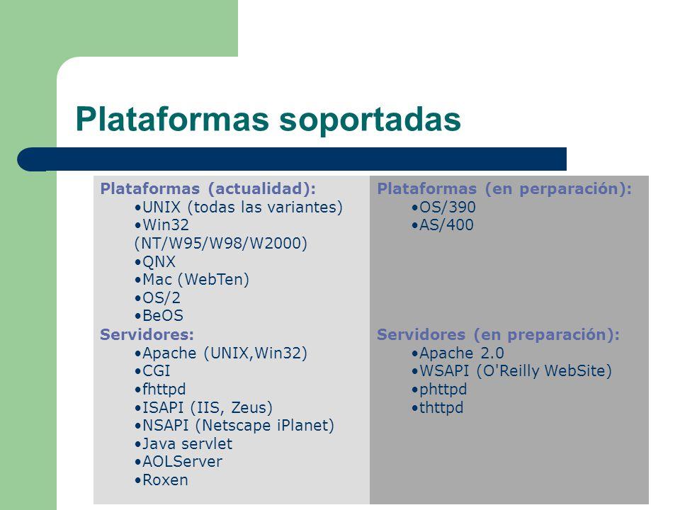 Plataformas soportadas Plataformas (actualidad): UNIX (todas las variantes) Win32 (NT/W95/W98/W2000) QNX Mac (WebTen) OS/2 BeOS Plataformas (en perparación): OS/390 AS/400 Servidores: Apache (UNIX,Win32) CGI fhttpd ISAPI (IIS, Zeus) NSAPI (Netscape iPlanet) Java servlet AOLServer Roxen Servidores (en preparación): Apache 2.0 WSAPI (O Reilly WebSite) phttpd thttpd