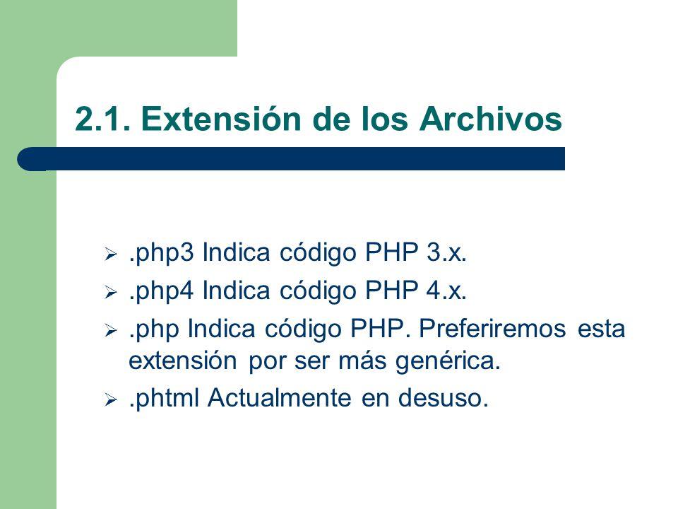2.1. Extensión de los Archivos.php3 Indica código PHP 3.x..php4 Indica código PHP 4.x..php Indica código PHP. Preferiremos esta extensión por ser más