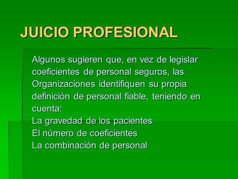 JUICIO PROFESIONAL Algunos sugieren que, en vez de legislar coeficientes de personal seguros, las Organizaciones identifiquen su propia definición de