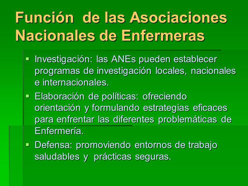 Función de las Asociaciones Nacionales de Enfermeras Investigación: las ANEs pueden establecer programas de investigación locales, nacionales e internacionales.