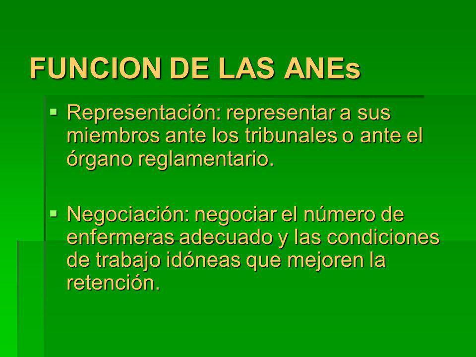 FUNCION DE LAS ANEs Representación: representar a sus miembros ante los tribunales o ante el órgano reglamentario. Representación: representar a sus m