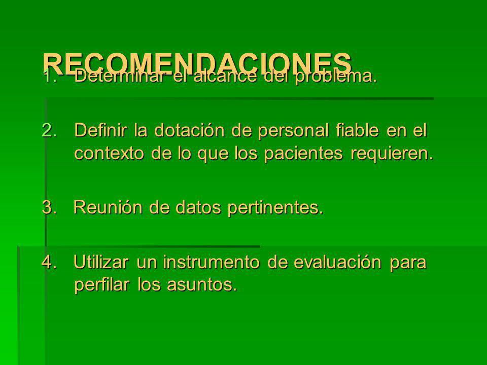 RECOMENDACIONESRECOMENDACIONES 1.Determinar el alcance del problema. 2.Definir la dotación de personal fiable en el contexto de lo que los pacientes r