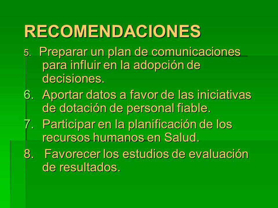 RECOMENDACIONESRECOMENDACIONES 5. Preparar un plan de comunicaciones para influir en la adopción de decisiones. 6.Aportar datos a favor de las iniciat