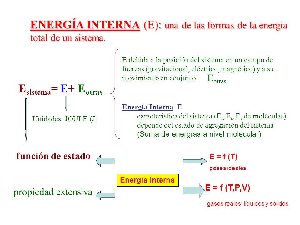 ENERGÍA INTERNA (E): una de las formas de la energia total de un sistema. E sistema = E+ E otras E debida a la posición del sistema en un campo de fue