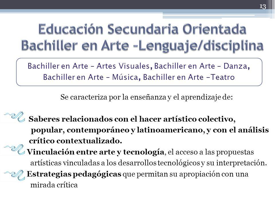 Bachiller en Arte – Artes Visuales, Bachiller en Arte – Danza, Bachiller en Arte – Música, Bachiller en Arte -Teatro Se caracteriza por la enseñanza y