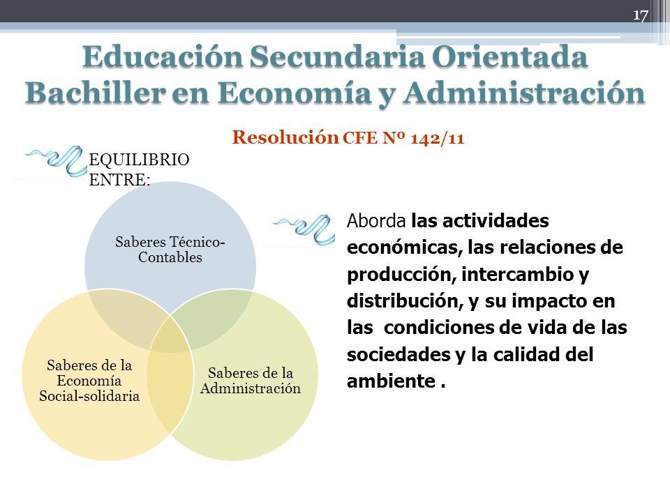 Educación Secundaria Orientada Bachiller en Economía y Administración Aborda las actividades económicas, las relaciones de producción, intercambio y d