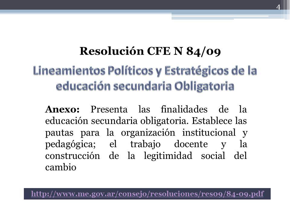 4 Resolución CFE N 84/09 Anexo: Presenta las finalidades de la educación secundaria obligatoria. Establece las pautas para la organización institucion