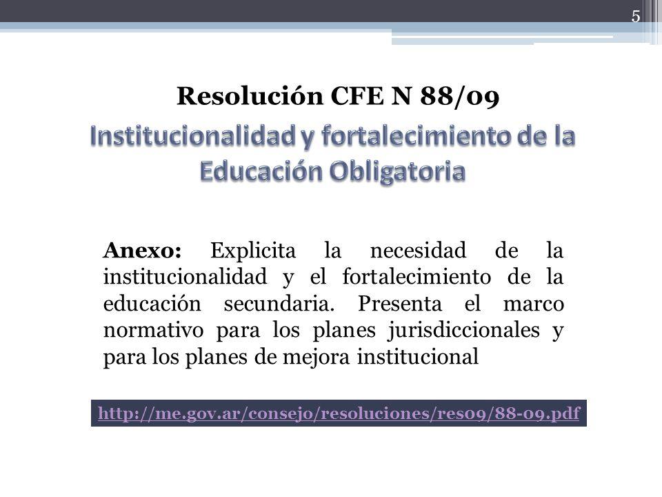 5 Resolución CFE N 88/09 Anexo: Explicita la necesidad de la institucionalidad y el fortalecimiento de la educación secundaria. Presenta el marco norm