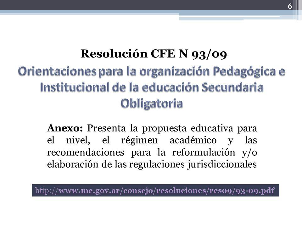 6 Resolución CFE N 93/09 Anexo: Presenta la propuesta educativa para el nivel, el régimen académico y las recomendaciones para la reformulación y/o el