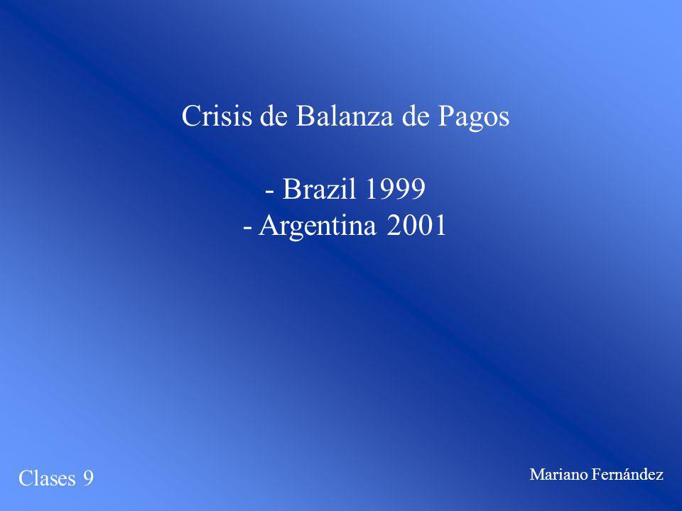 Crisis de Balanza de Pagos - Brazil 1999 - Argentina 2001 Clases 9 Mariano Fernández