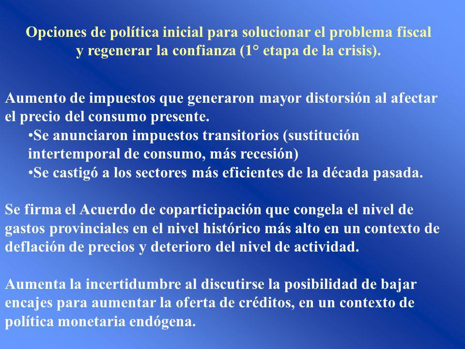 Opciones de política inicial para solucionar el problema fiscal y regenerar la confianza (1° etapa de la crisis). Aumento de impuestos que generaron m