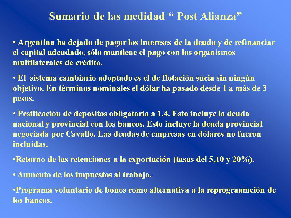 Sumario de las medidad Post Alianza Argentina ha dejado de pagar los intereses de la deuda y de refinanciar el capital adeudado, sólo mantiene el pago con los organismos multilaterales de crédito.