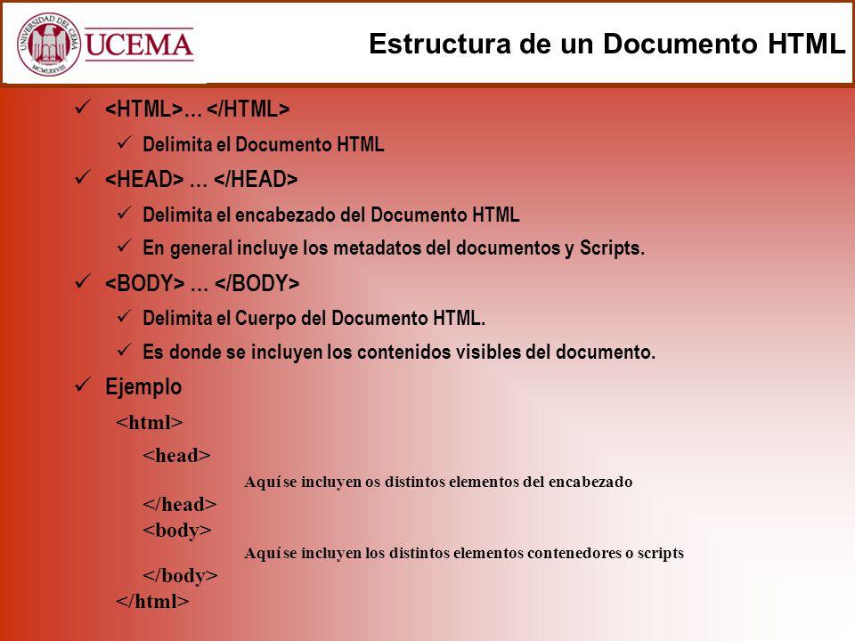 Estructura de un Documento HTML … Delimita el Documento HTML … Delimita el encabezado del Documento HTML En general incluye los metadatos del document