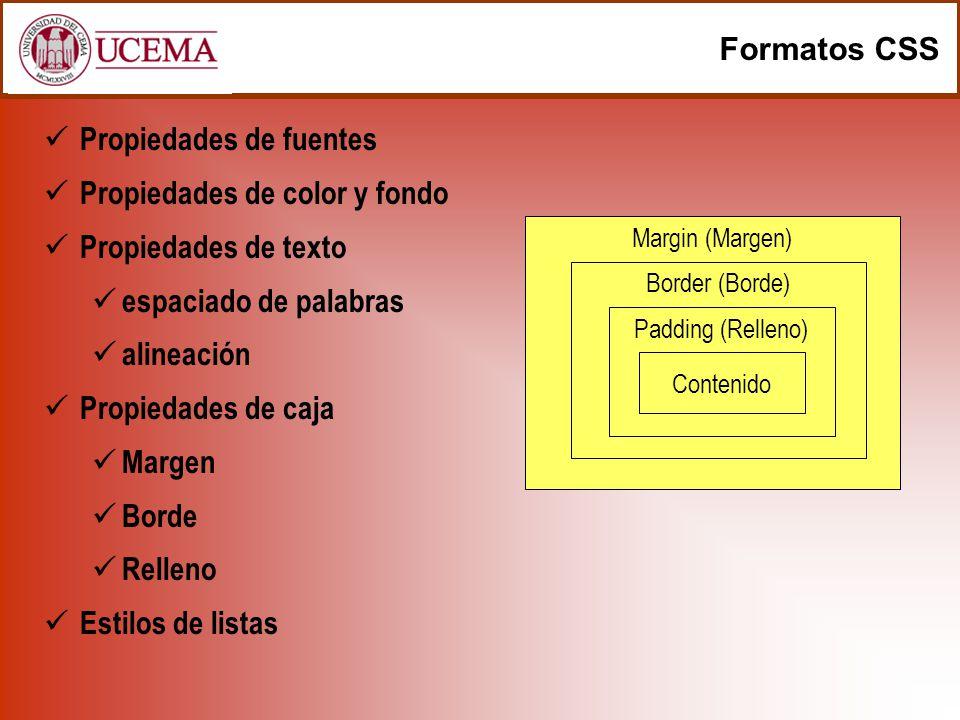 Margin (Margen) Border (Borde) Formatos CSS Propiedades de fuentes Propiedades de color y fondo Propiedades de texto espaciado de palabras alineación