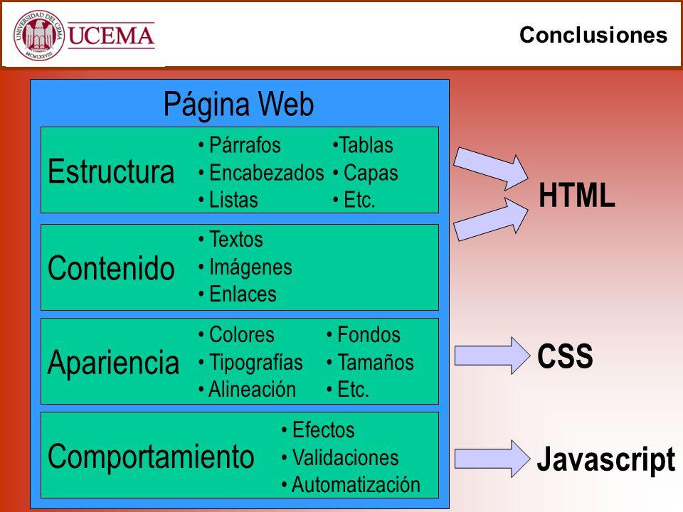 Página Web Conclusiones Estructura Contenido Apariencia Comportamiento HTML CSS Javascript Colores Tipografías Alineación Efectos Validaciones Automat