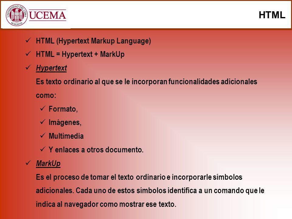 HTML HTML (Hypertext Markup Language) HTML = Hypertext + MarkUp Hypertext Es texto ordinario al que se le incorporan funcionalidades adicionales como: