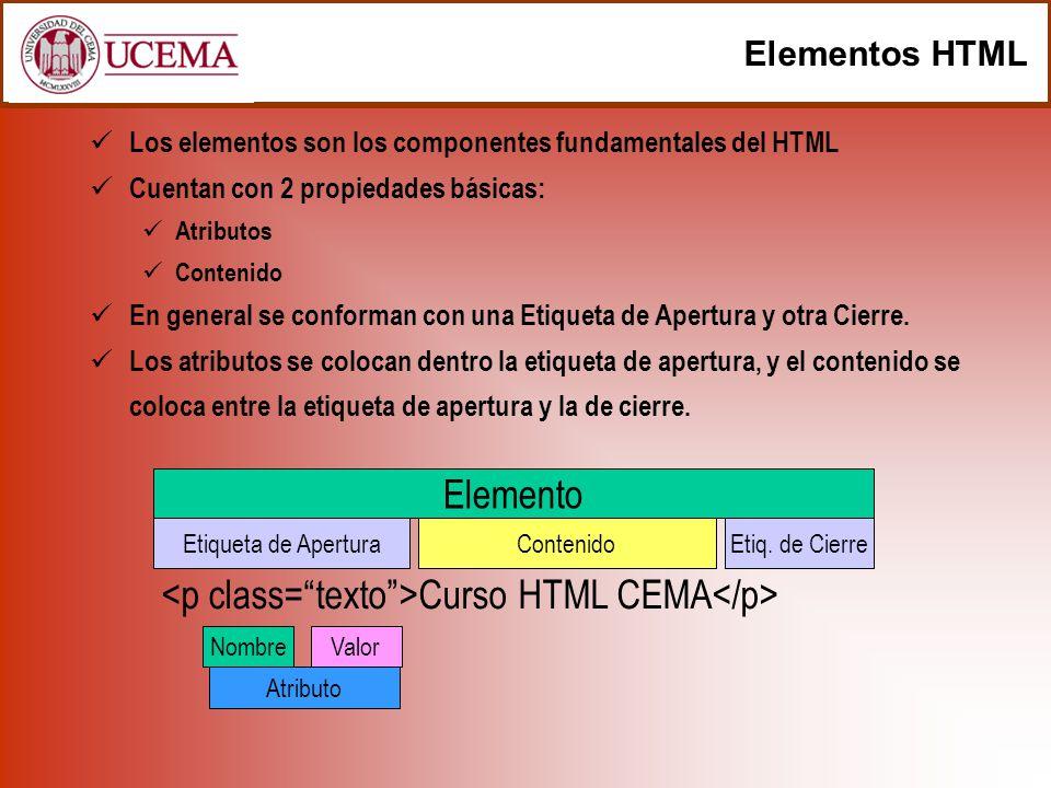 Elementos HTML Los elementos son los componentes fundamentales del HTML Cuentan con 2 propiedades básicas: Atributos Contenido En general se conforman