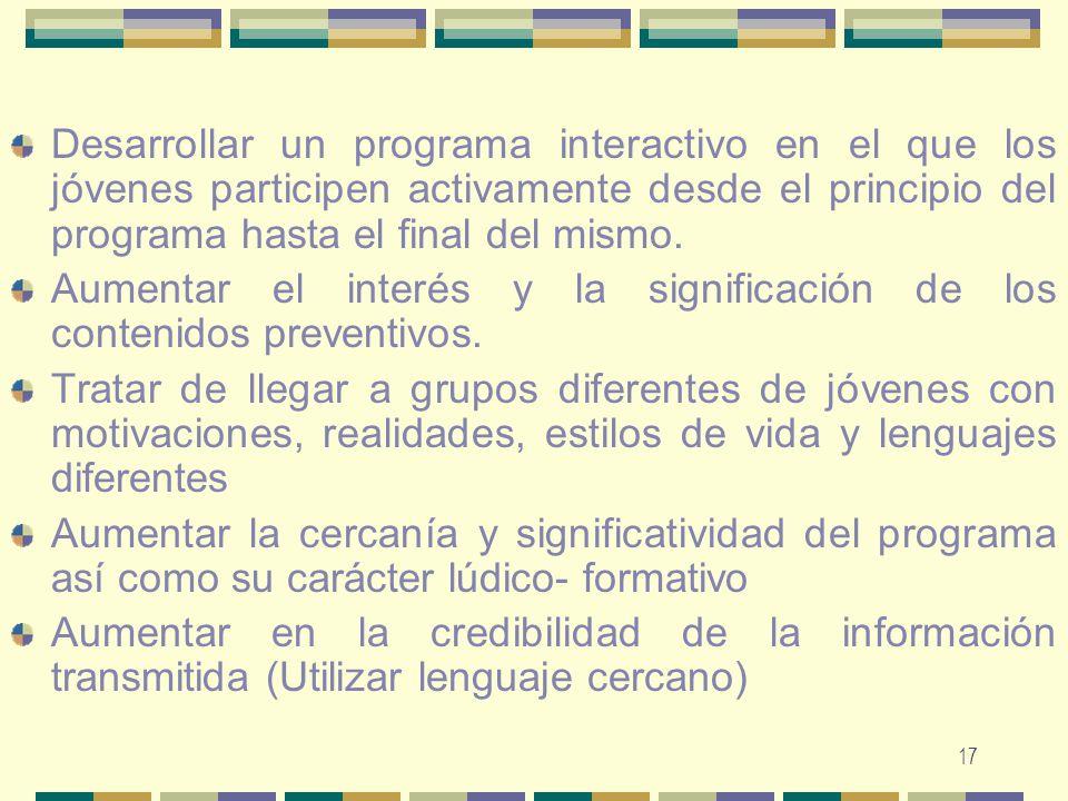 17 Desarrollar un programa interactivo en el que los jóvenes participen activamente desde el principio del programa hasta el final del mismo. Aumentar