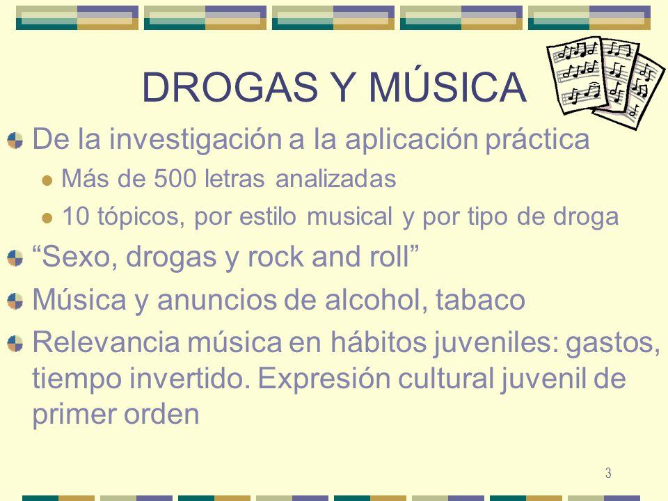 4 INVESTIGACIÓN A partir investigación sobre tópicos de la droga y letras música (400 canciones) Según estilo musical Según droga de la que hablan Según temática Pop (99 temas: 30.65% del total): incluyendo poplatino (10 temas) y pop-flamenco (5 temas).