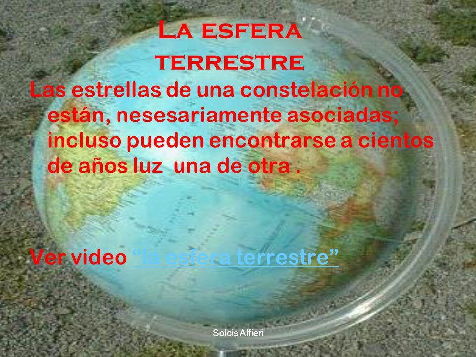 Solcis Alfieri La esfera terrestre Las estrellas de una constelación no están, nesesariamente asociadas; incluso pueden encontrarse a cientos de años