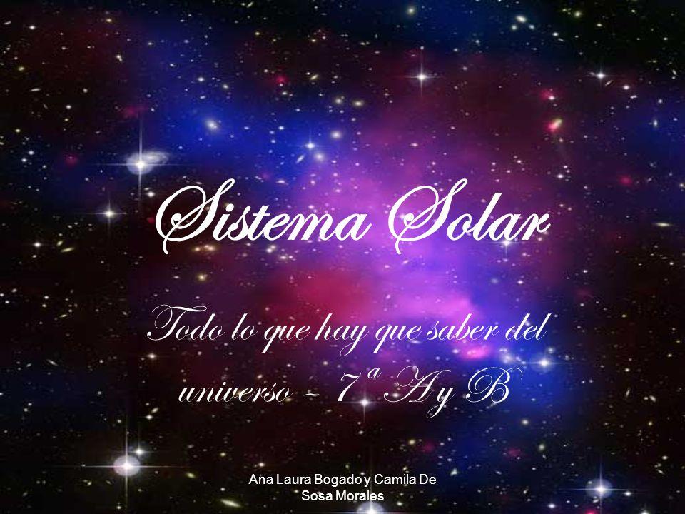 Ana Laura Bogado y Camila De Sosa Morales Sistema Solar Todo lo que hay que saber del universo – 7ª A y B