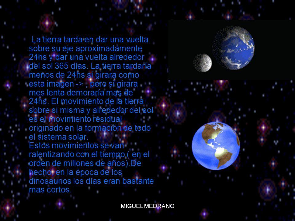 MIGUEL MEDRANO La tierra tarda en dar una vuelta sobre su eje aproximadamente 24hs y dar una vuelta alrededor del sol 365 días. La tierra tardaría men