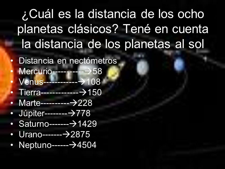 ¿Cuál es la distancia de los ocho planetas clásicos? Tené en cuenta la distancia de los planetas al sol Distancia en nectómetros Mercurio----------- 5