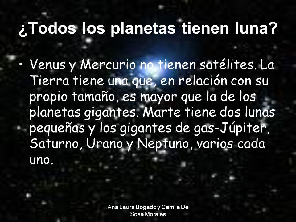 Ana Laura Bogado y Camila De Sosa Morales ¿Todos los planetas tienen luna? Venus y Mercurio no tienen satélites. La Tierra tiene una que, en relación