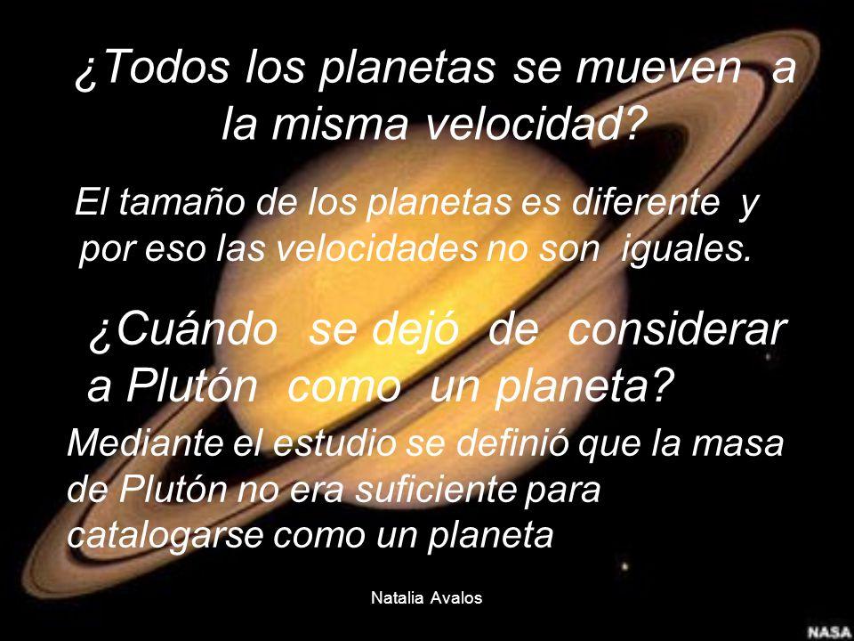 Natalia Avalos ¿Todos los planetas se mueven a la misma velocidad? El tamaño de los planetas es diferente y por eso las velocidades no son iguales. ¿C