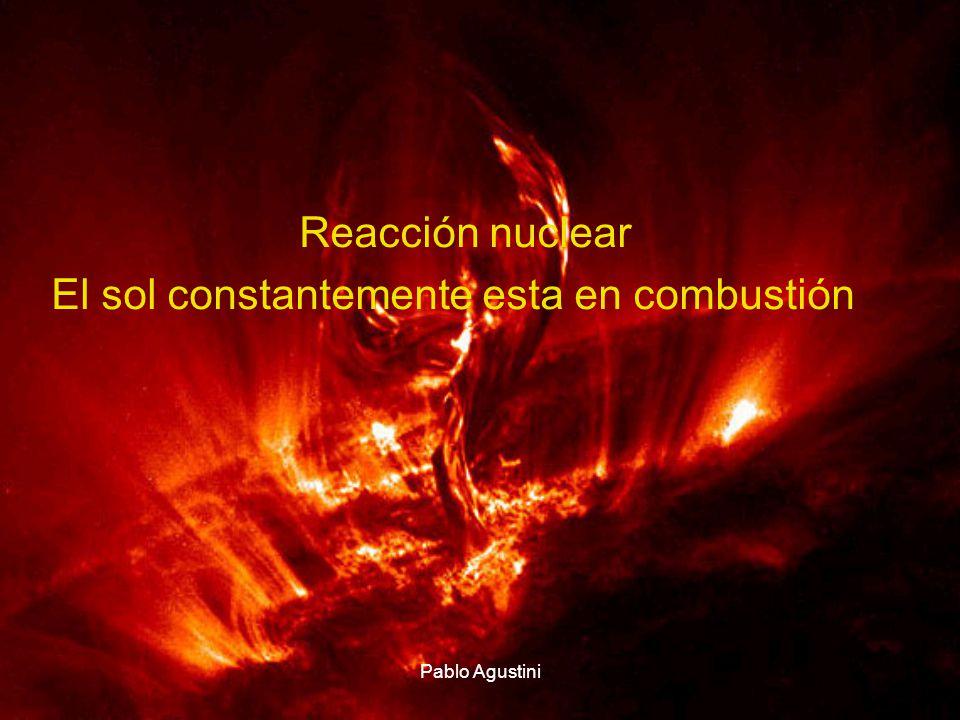 Reacción nuclear El sol constantemente esta en combustión