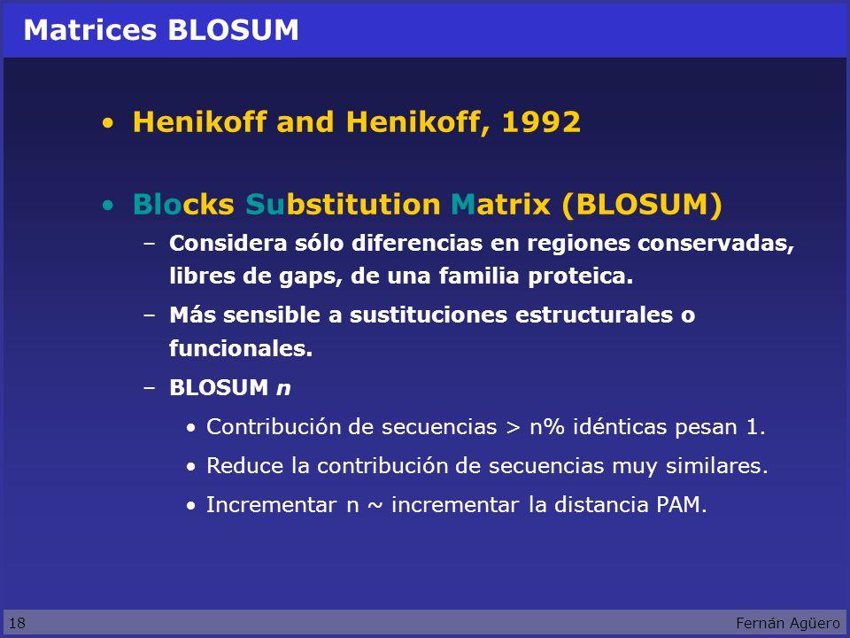18Fernán Agüero Matrices BLOSUM Henikoff and Henikoff, 1992 Blocks Substitution Matrix (BLOSUM) –Considera sólo diferencias en regiones conservadas, libres de gaps, de una familia proteica.