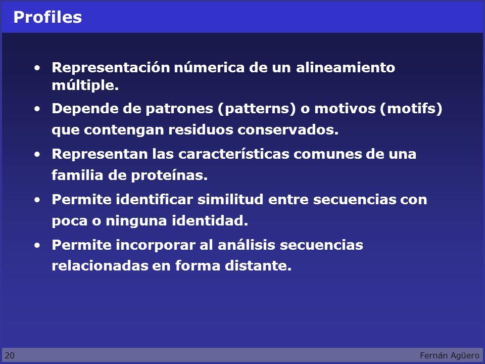 20Fernán Agüero Profiles Representación númerica de un alineamiento múltiple.