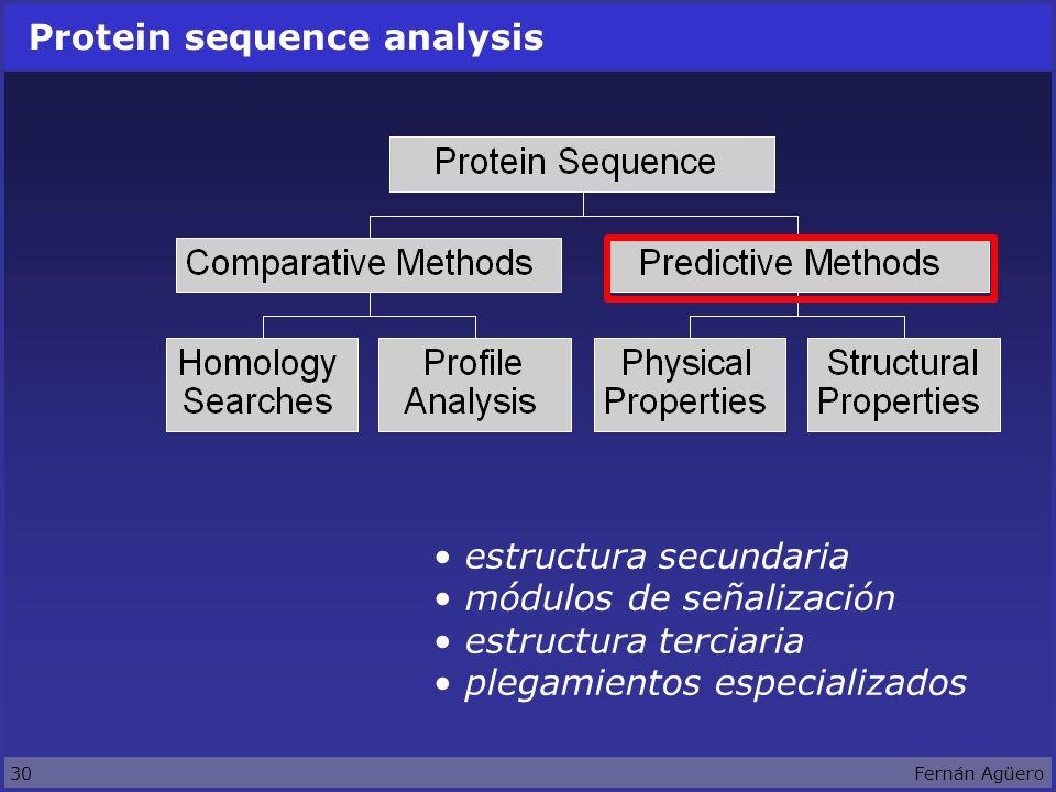 30Fernán Agüero Protein sequence analysis estructura secundaria módulos de señalización estructura terciaria plegamientos especializados