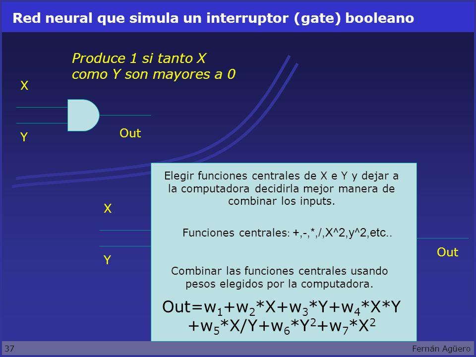 37Fernán Agüero Red neural que simula un interruptor (gate) booleano X Y Produce 1 si tanto X como Y son mayores a 0 X Y Elegir funciones centrales de X e Y y dejar a la computadora decidirla mejor manera de combinar los inputs.
