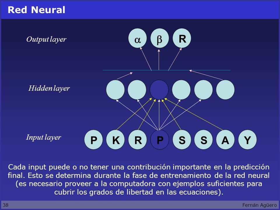 38Fernán Agüero Red Neural Output layer Input layer Hidden layer KPR P SSAY R Cada input puede o no tener una contribución importante en la predicción final.