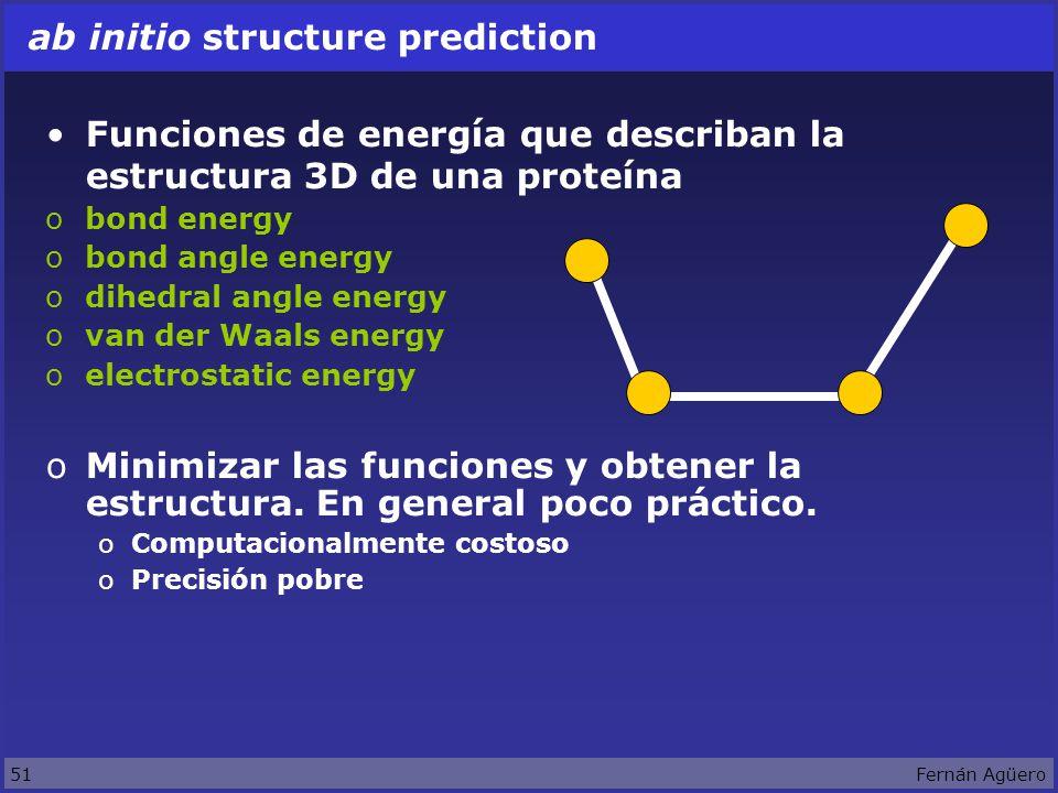 51Fernán Agüero ab initio structure prediction Funciones de energía que describan la estructura 3D de una proteína obond energy obond angle energy odihedral angle energy ovan der Waals energy oelectrostatic energy oMinimizar las funciones y obtener la estructura.