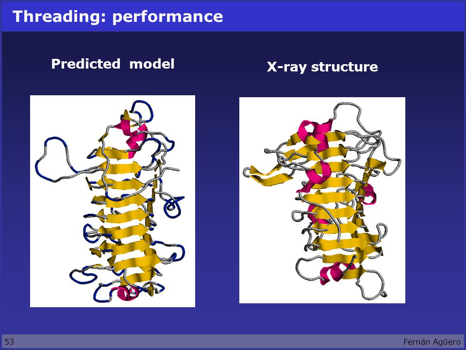 53Fernán Agüero Threading: performance Predicted model X-ray structure