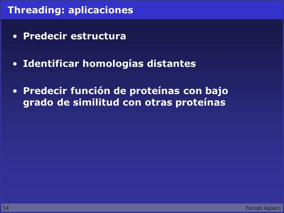 54Fernán Agüero Threading: aplicaciones Predecir estructura Identificar homologías distantes Predecir función de proteínas con bajo grado de similitud con otras proteínas