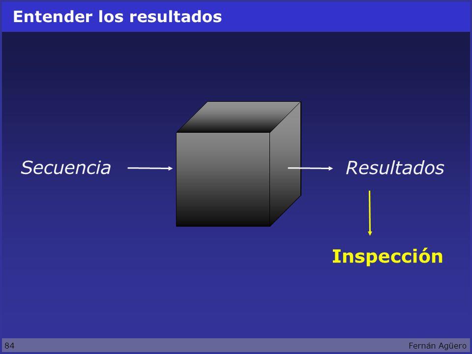 84Fernán Agüero Entender los resultados Secuencia Resultados Inspección
