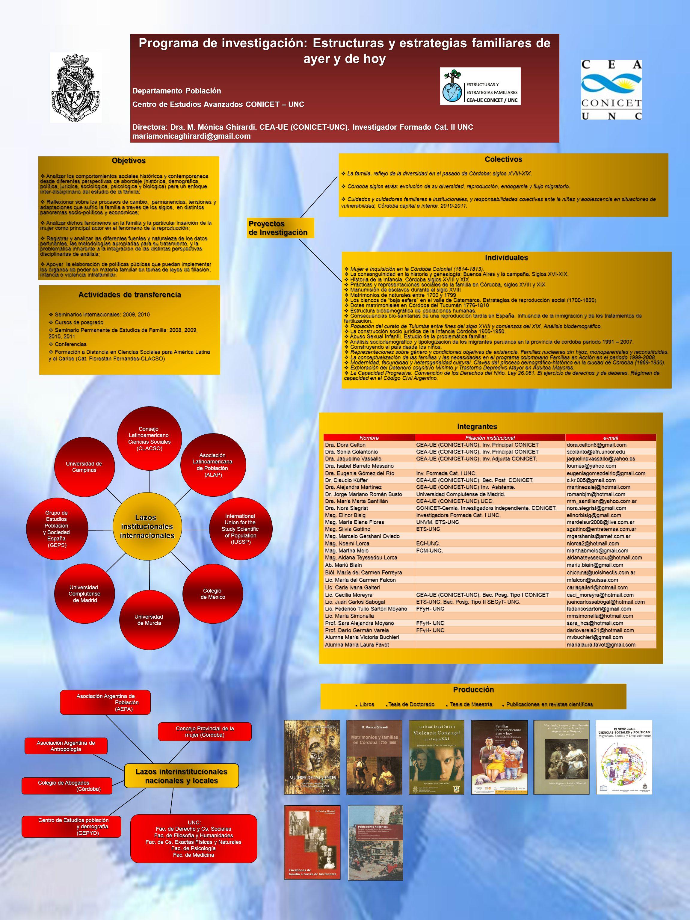 Programa de investigación: Estructuras y estrategias familiares de ayer y de hoy Departamento Población Centro de Estudios Avanzados CONICET – UNC Dir