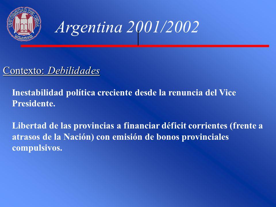 Contexto: Debilidades Argentina 2001/2002 Inestabilidad política creciente desde la renuncia del Vice Presidente. Libertad de las provincias a financi